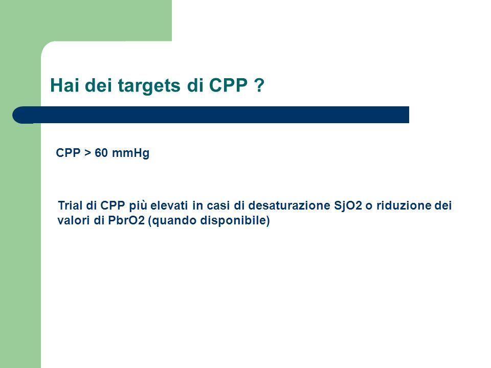 Hai dei targets di CPP CPP > 60 mmHg