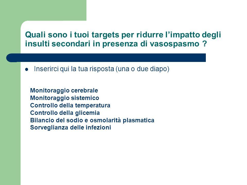Quali sono i tuoi targets per ridurre l'impatto degli insulti secondari in presenza di vasospasmo