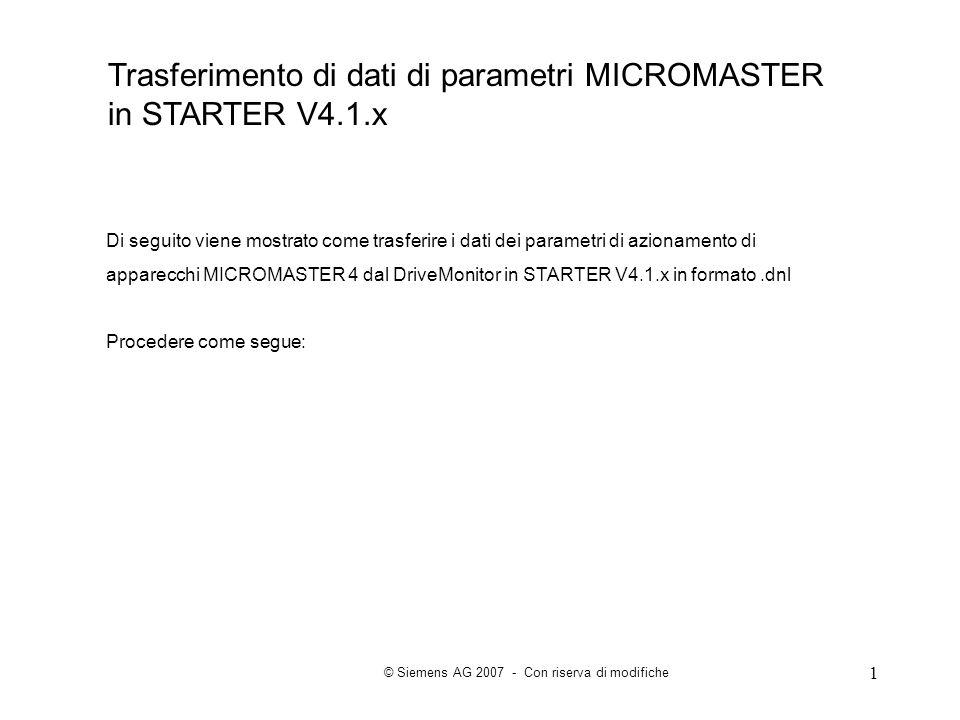 Trasferimento di dati di parametri MICROMASTER in STARTER V4.1.x