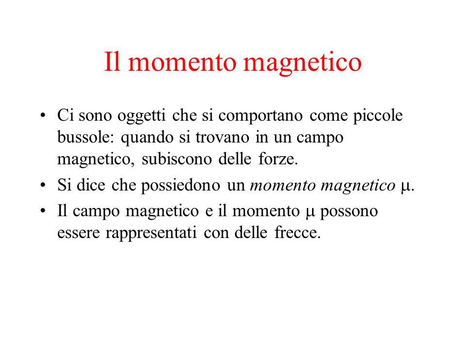 Il momento magnetico Ci sono oggetti che si comportano come piccole bussole: quando si trovano in un campo magnetico, subiscono delle forze.