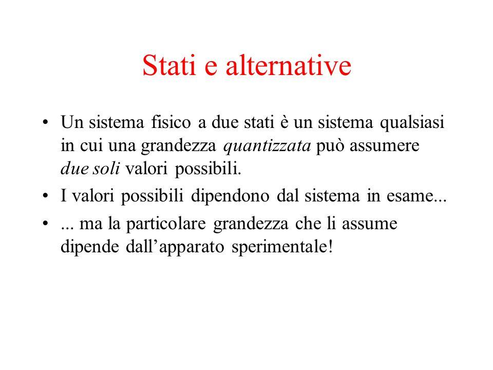 Stati e alternative Un sistema fisico a due stati è un sistema qualsiasi in cui una grandezza quantizzata può assumere due soli valori possibili.
