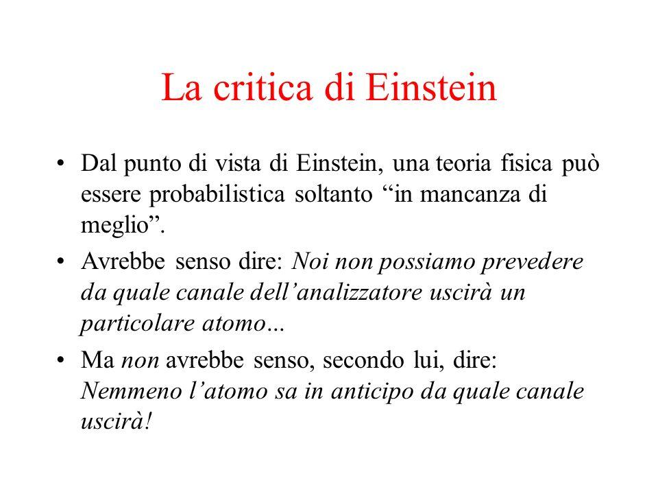 La critica di Einstein Dal punto di vista di Einstein, una teoria fisica può essere probabilistica soltanto in mancanza di meglio .