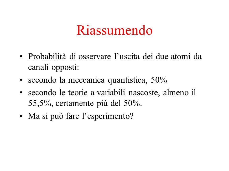 Riassumendo Probabilità di osservare l'uscita dei due atomi da canali opposti: secondo la meccanica quantistica, 50%
