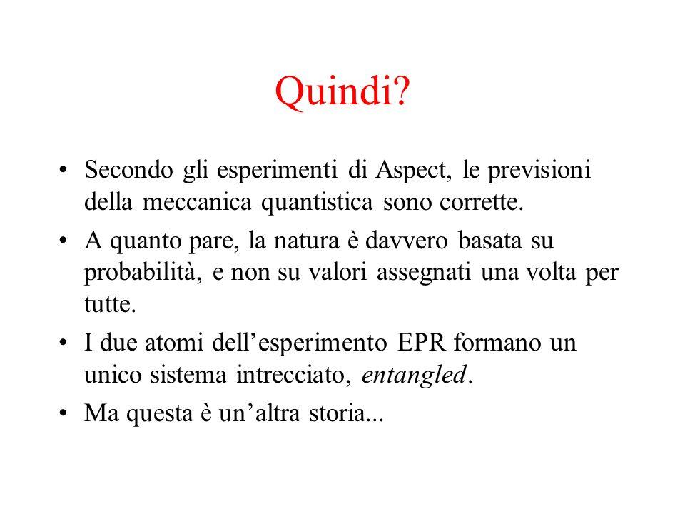 Quindi Secondo gli esperimenti di Aspect, le previsioni della meccanica quantistica sono corrette.