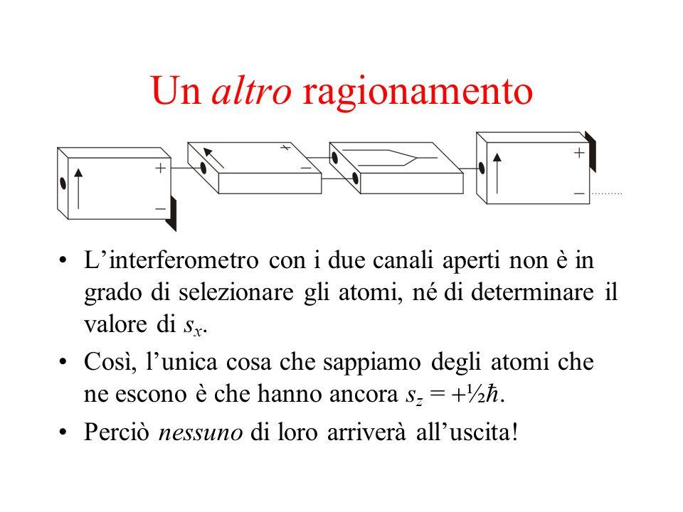 Un altro ragionamento L'interferometro con i due canali aperti non è in grado di selezionare gli atomi, né di determinare il valore di sx.