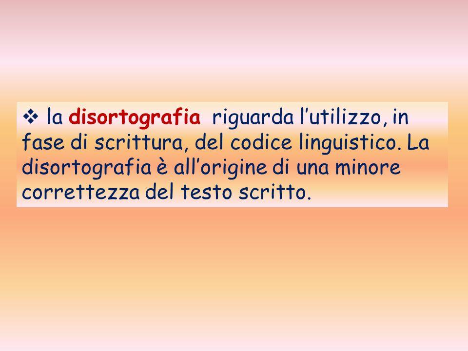 la disortografia riguarda l'utilizzo, in fase di scrittura, del codice linguistico.