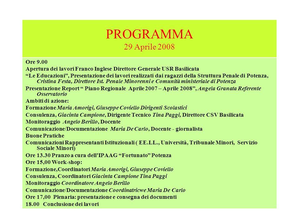 PROGRAMMA 29 Aprile 2008 Ore 9.00. Apertura dei lavori Franco Inglese Direttore Generale USR Basilicata.
