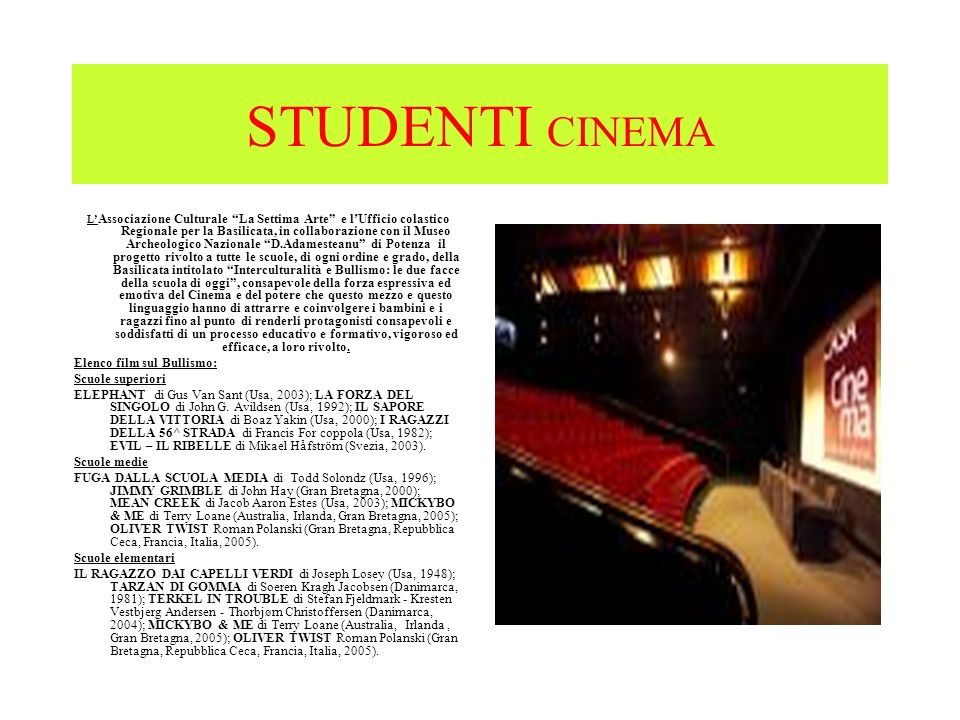 STUDENTI CINEMA Elenco film sul Bullismo: Scuole superiori