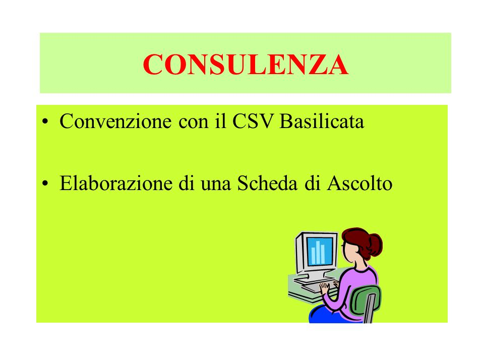 CONSULENZA Convenzione con il CSV Basilicata