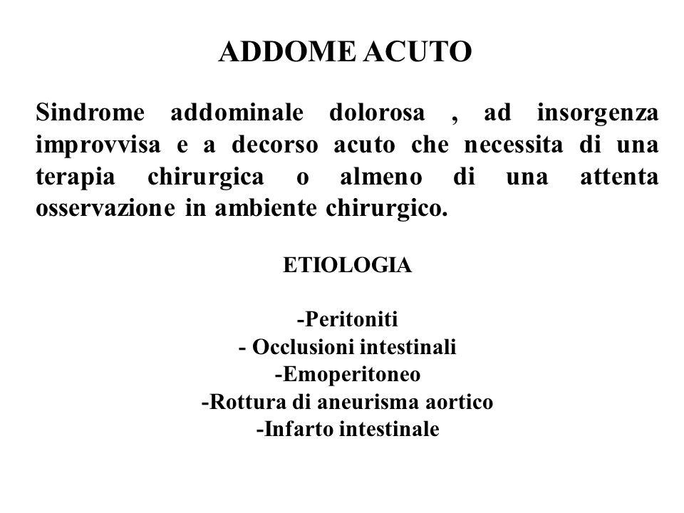 - Occlusioni intestinali -Rottura di aneurisma aortico