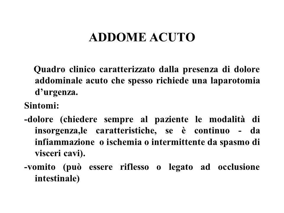 ADDOME ACUTOQuadro clinico caratterizzato dalla presenza di dolore addominale acuto che spesso richiede una laparotomia d'urgenza.
