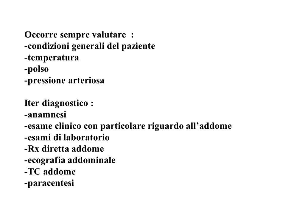 Occorre sempre valutare : -condizioni generali del paziente -temperatura -polso -pressione arteriosa Iter diagnostico : -anamnesi -esame clinico con particolare riguardo all'addome -esami di laboratorio -Rx diretta addome -ecografia addominale -TC addome -paracentesi