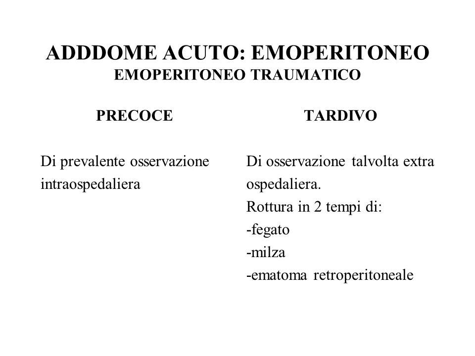ADDDOME ACUTO: EMOPERITONEO EMOPERITONEO TRAUMATICO