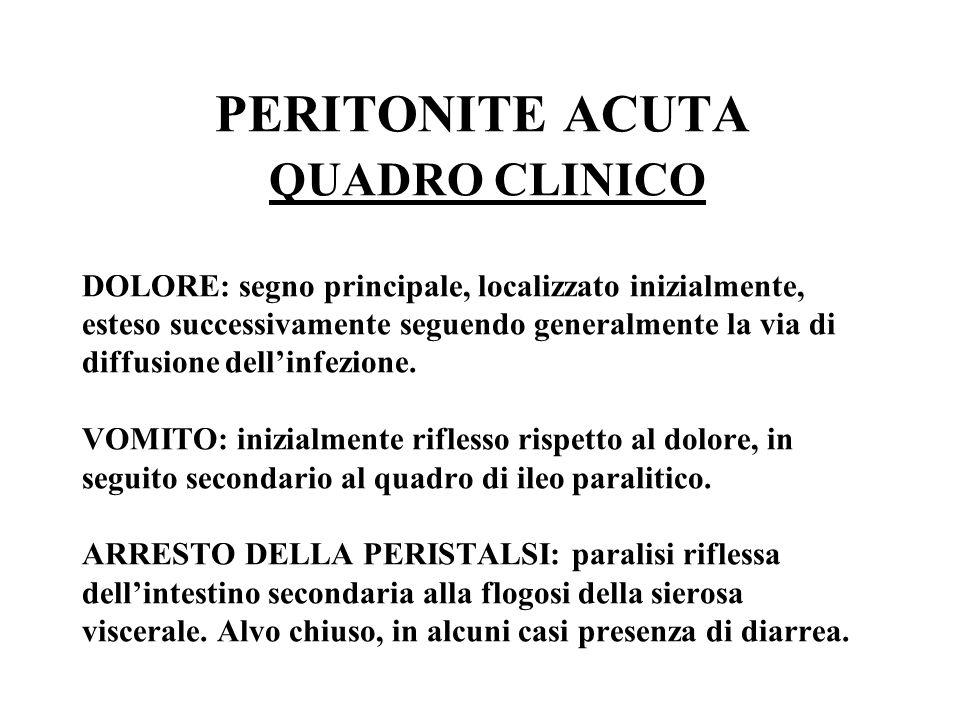 PERITONITE ACUTA QUADRO CLINICO DOLORE: segno principale, localizzato inizialmente, esteso successivamente seguendo generalmente la via di diffusione dell'infezione.