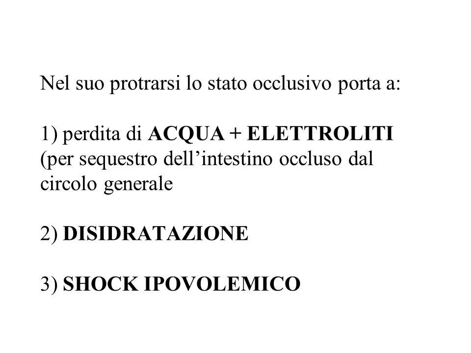 Nel suo protrarsi lo stato occlusivo porta a: 1) perdita di ACQUA + ELETTROLITI (per sequestro dell'intestino occluso dal circolo generale 2) DISIDRATAZIONE 3) SHOCK IPOVOLEMICO