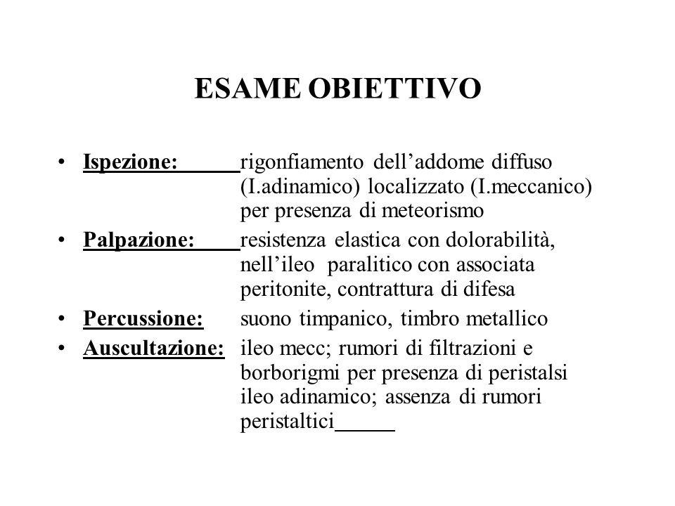 ESAME OBIETTIVOIspezione: rigonfiamento dell'addome diffuso (I.adinamico) localizzato (I.meccanico) per presenza di meteorismo.
