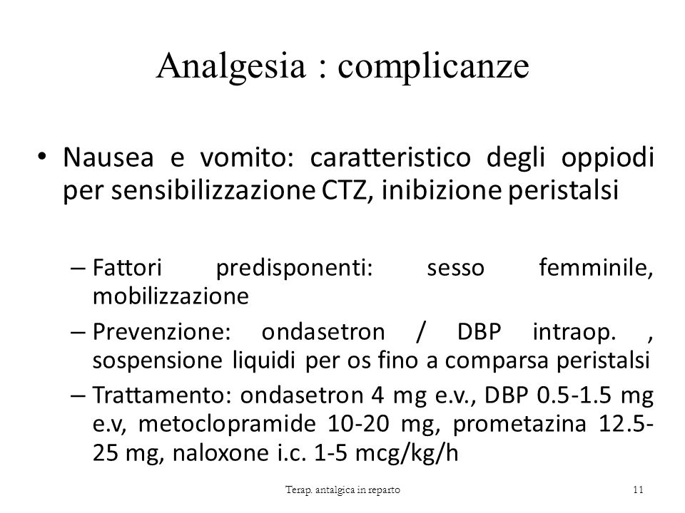 Analgesia : complicanze