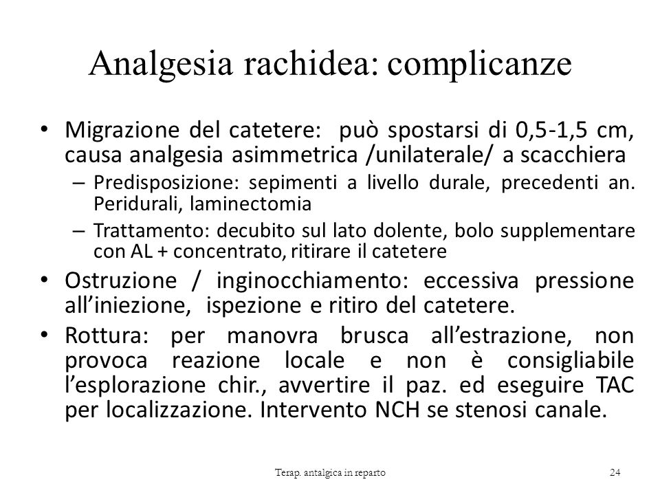 Analgesia rachidea: complicanze