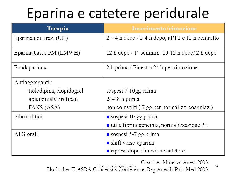 Eparina e catetere peridurale