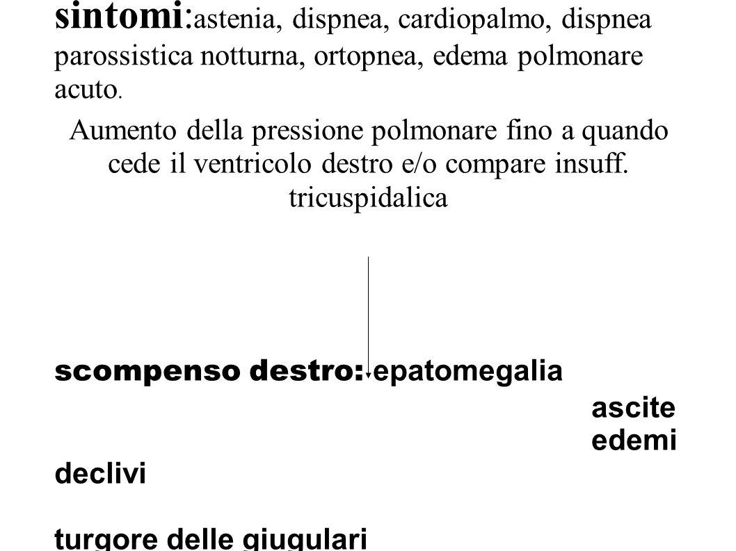sintomi:astenia, dispnea, cardiopalmo, dispnea parossistica notturna, ortopnea, edema polmonare acuto.