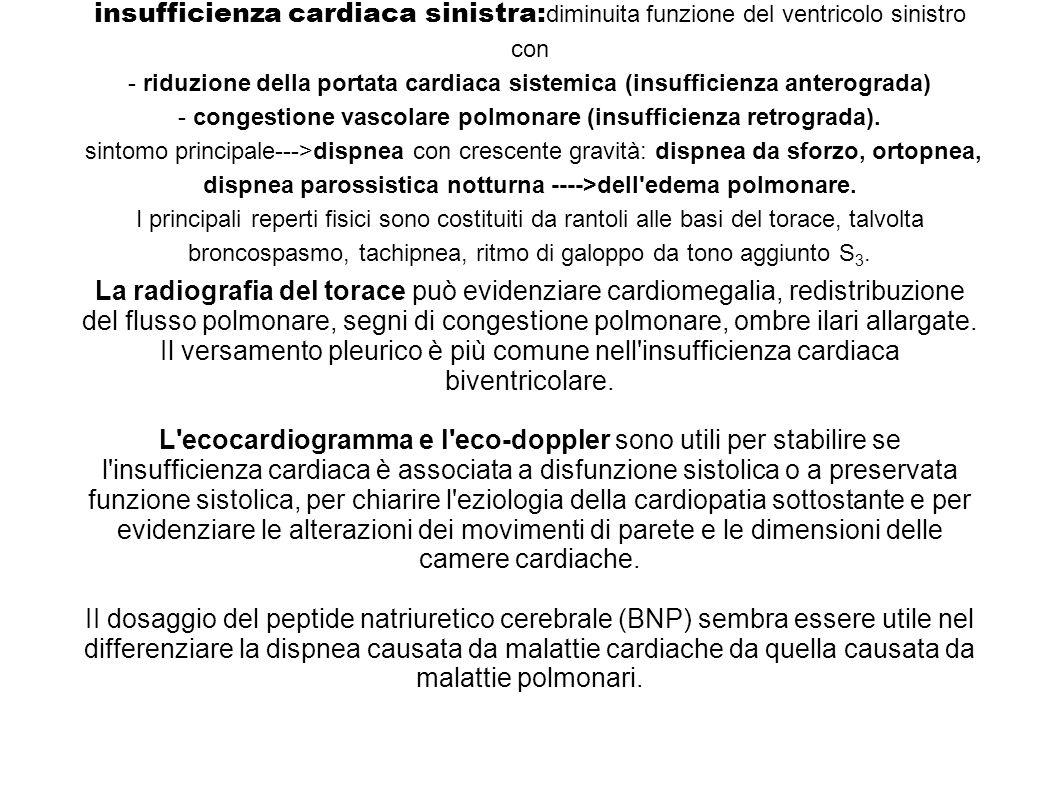insufficienza cardiaca sinistra:diminuita funzione del ventricolo sinistro con - riduzione della portata cardiaca sistemica (insufficienza anterograda) - congestione vascolare polmonare (insufficienza retrograda). sintomo principale--->dispnea con crescente gravità: dispnea da sforzo, ortopnea, dispnea parossistica notturna ---->dell edema polmonare. I principali reperti fisici sono costituiti da rantoli alle basi del torace, talvolta broncospasmo, tachipnea, ritmo di galoppo da tono aggiunto S3.