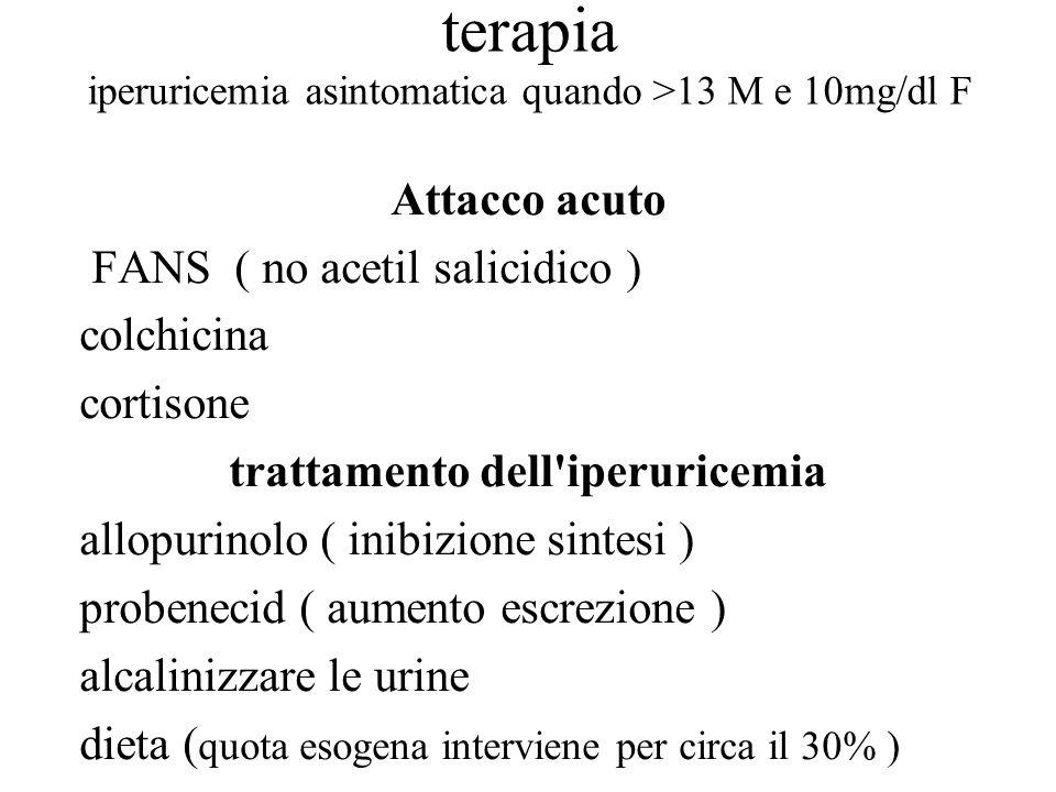 terapia iperuricemia asintomatica quando >13 M e 10mg/dl F