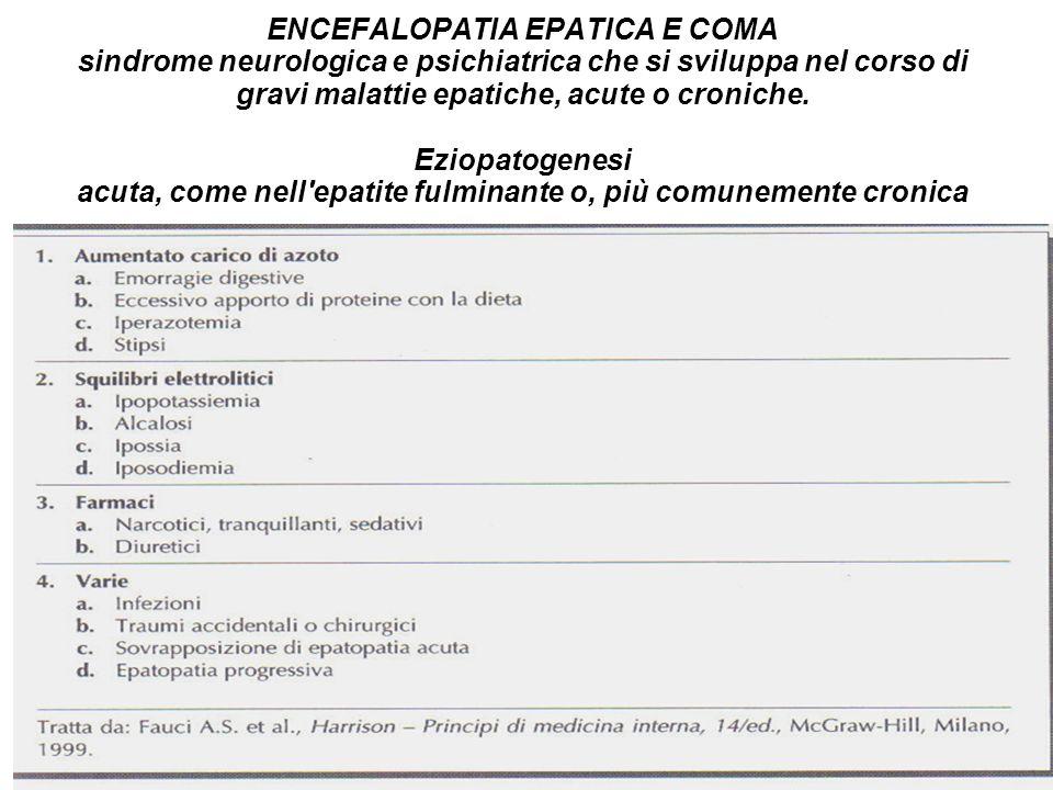ENCEFALOPATIA EPATICA E COMA sindrome neurologica e psichiatrica che si sviluppa nel corso di gravi malattie epatiche, acute o croniche.