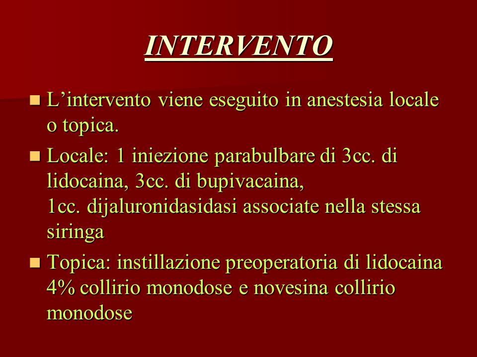INTERVENTO L'intervento viene eseguito in anestesia locale o topica.
