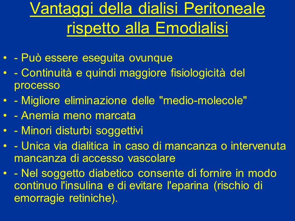 Vantaggi della dialisi Peritoneale rispetto alla Emodialisi