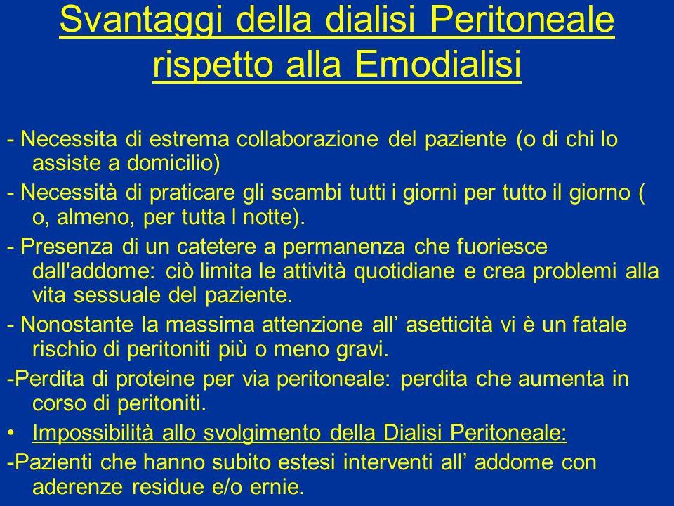 Svantaggi della dialisi Peritoneale rispetto alla Emodialisi