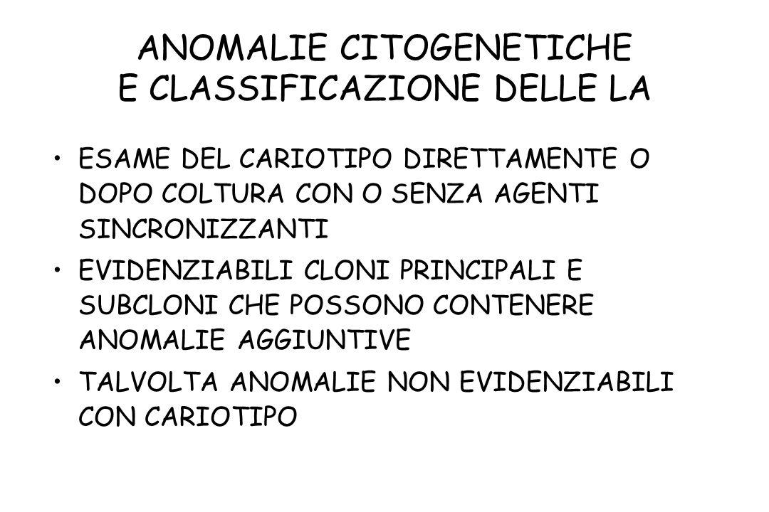 ANOMALIE CITOGENETICHE E CLASSIFICAZIONE DELLE LA