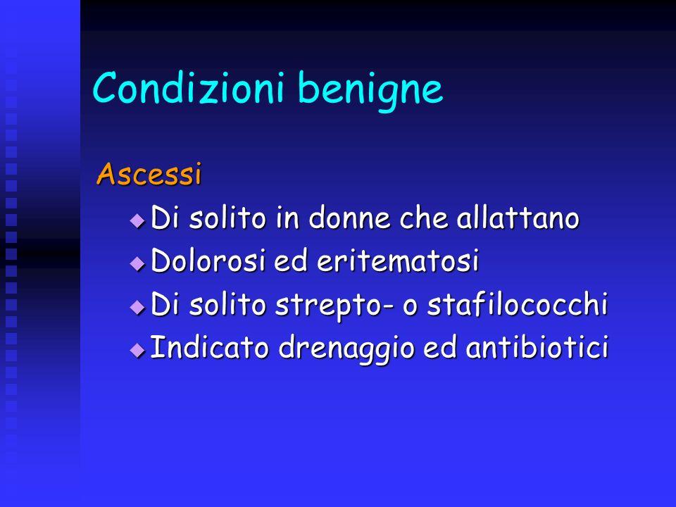 Condizioni benigne Ascessi Di solito in donne che allattano