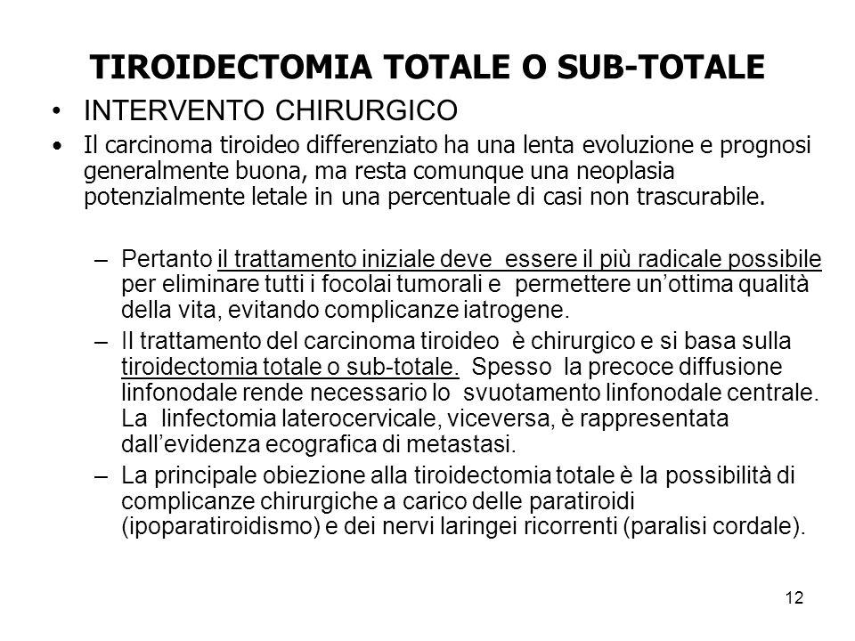 TIROIDECTOMIA TOTALE O SUB-TOTALE