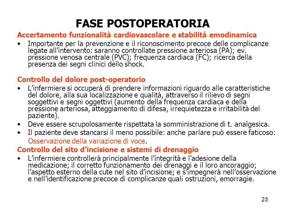 FASE POSTOPERATORIA Accertamento funzionalità cardiovascolare e stabilità emodinamica.
