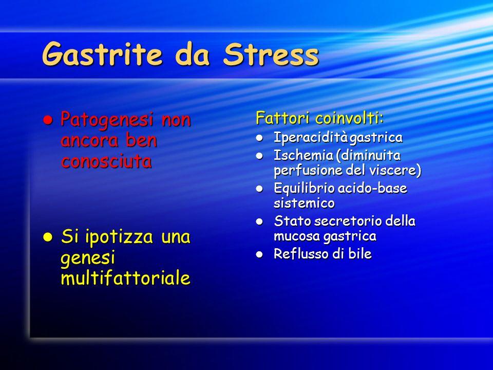 Gastrite da Stress Patogenesi non ancora ben conosciuta