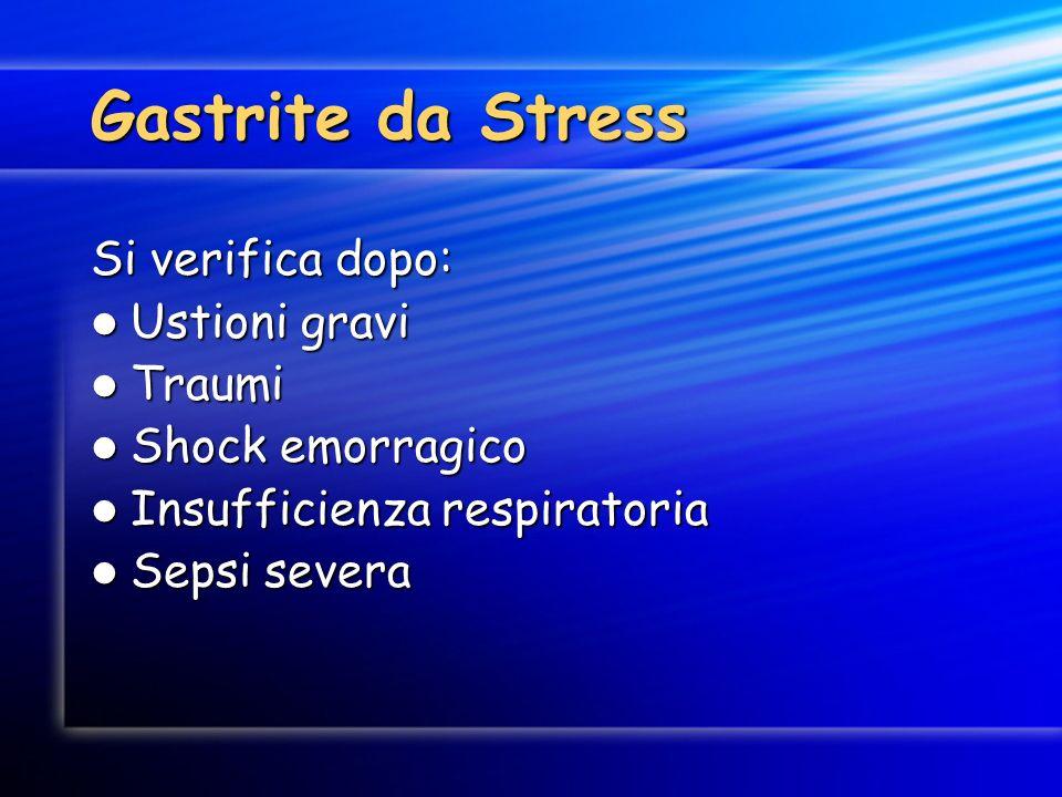 Gastrite da Stress Si verifica dopo: Ustioni gravi Traumi