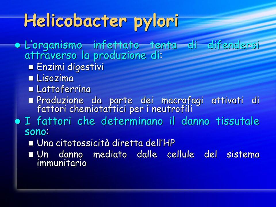 Helicobacter pyloriL'organismo infettato tenta di difendersi attraverso la produzione di: Enzimi digestivi.