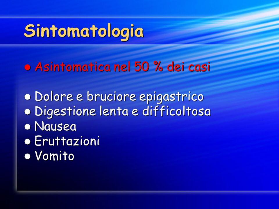 Sintomatologia Asintomatica nel 50 % dei casi
