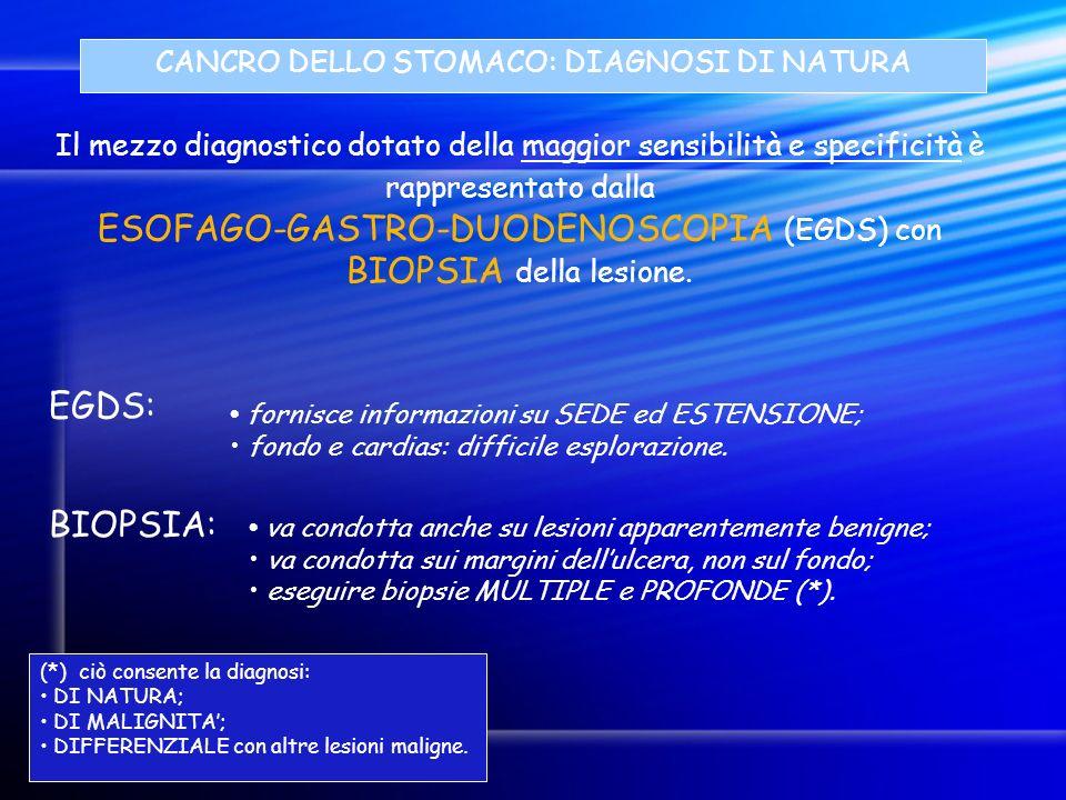 ESOFAGO-GASTRO-DUODENOSCOPIA (EGDS) con BIOPSIA della lesione.
