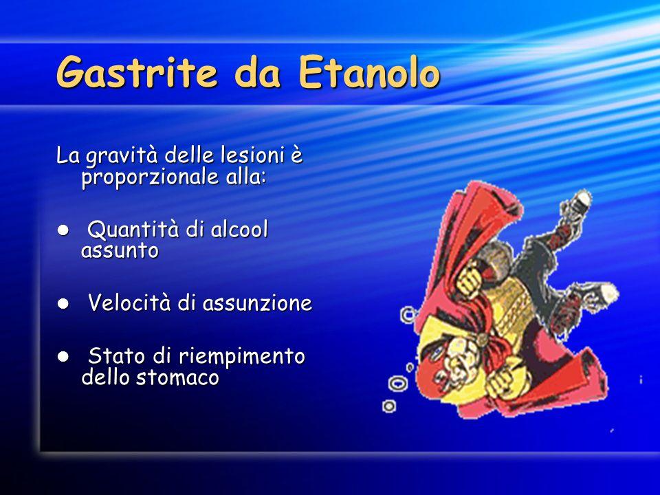Gastrite da Etanolo La gravità delle lesioni è proporzionale alla: