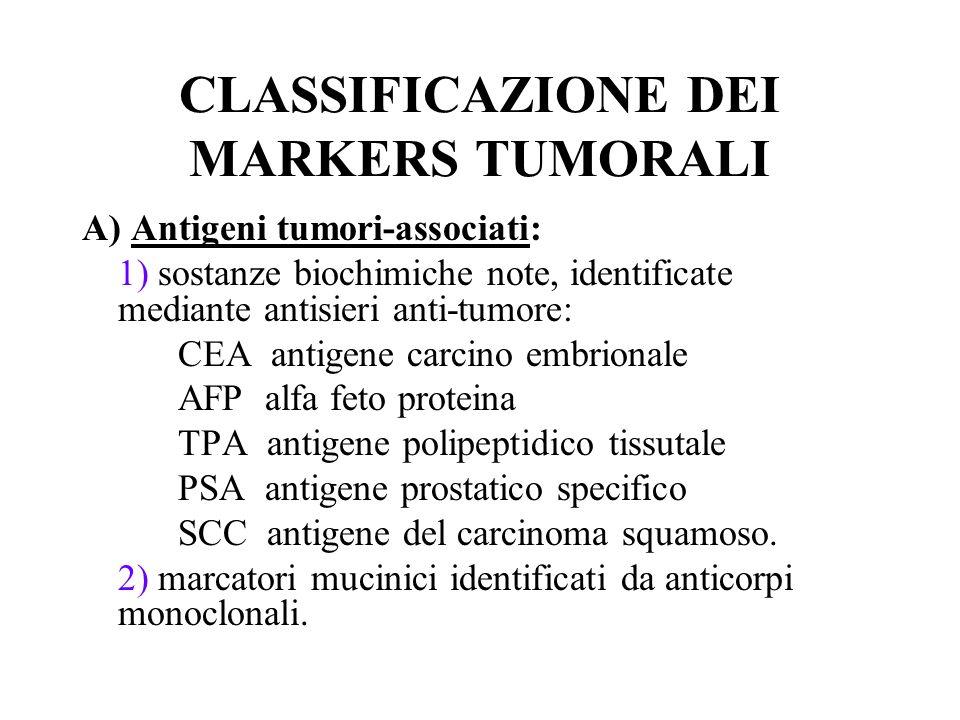 CLASSIFICAZIONE DEI MARKERS TUMORALI
