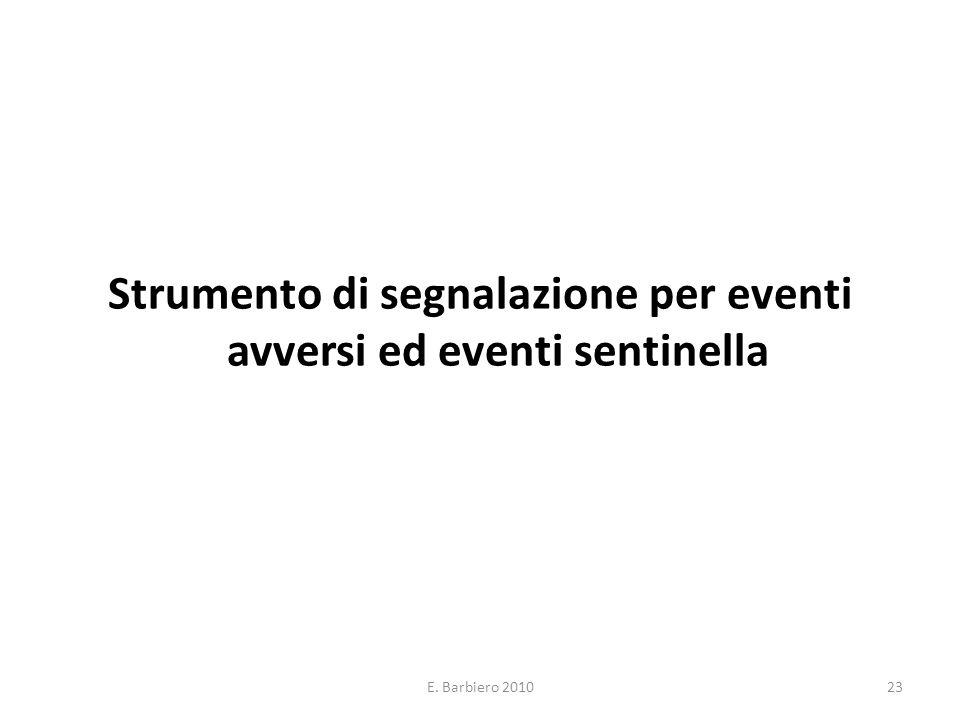 Strumento di segnalazione per eventi avversi ed eventi sentinella