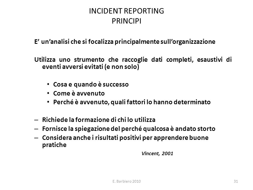INCIDENT REPORTING PRINCIPI