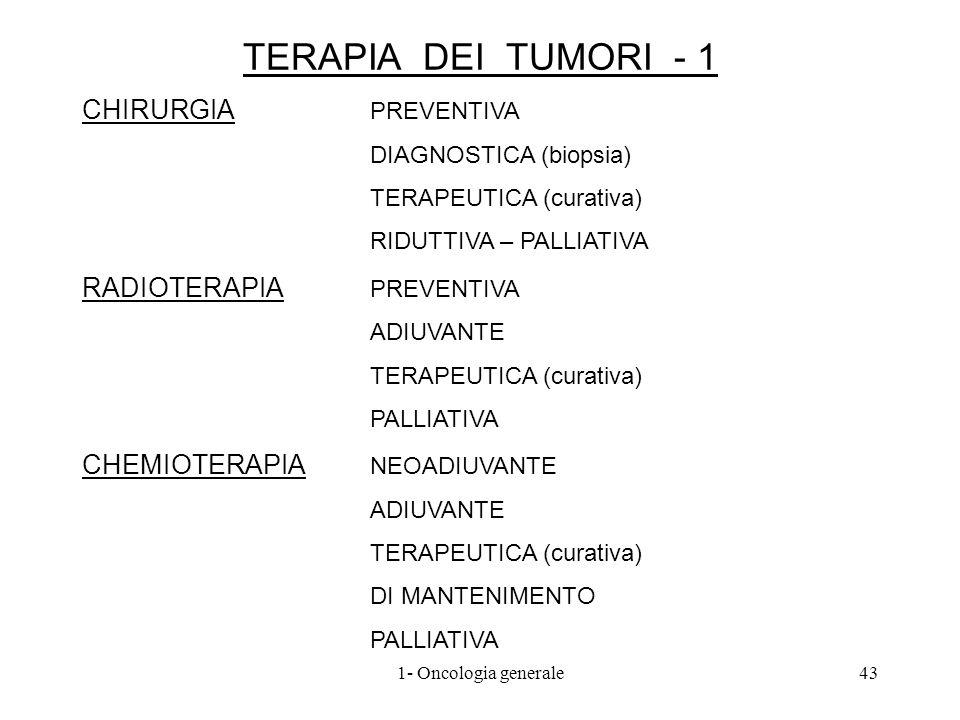 TERAPIA DEI TUMORI - 1 CHIRURGIA PREVENTIVA RADIOTERAPIA PREVENTIVA