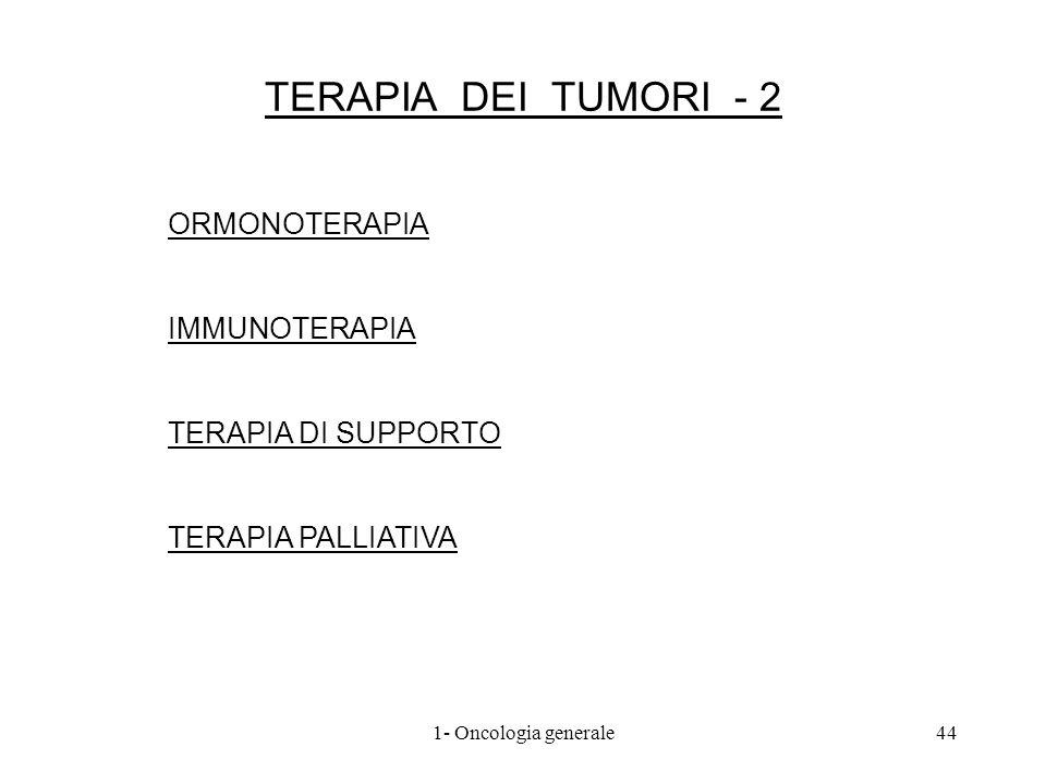 TERAPIA DEI TUMORI - 2 ORMONOTERAPIA IMMUNOTERAPIA TERAPIA DI SUPPORTO