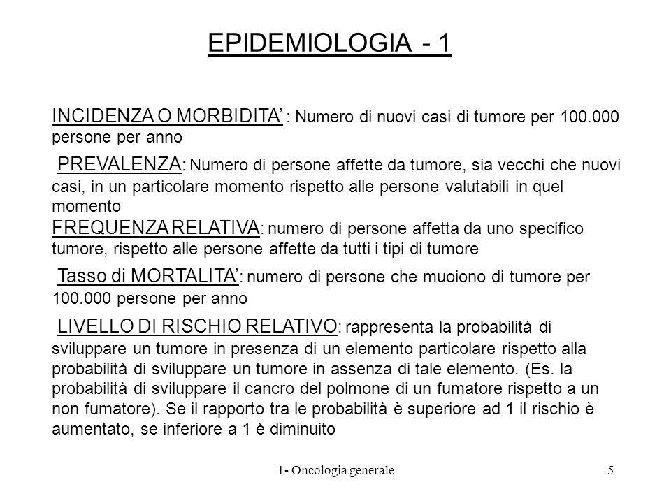 EPIDEMIOLOGIA - 1INCIDENZA O MORBIDITA' : Numero di nuovi casi di tumore per 100.000 persone per anno.