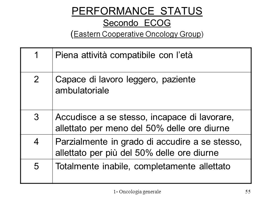 PERFORMANCE STATUS Secondo ECOG (Eastern Cooperative Oncology Group)