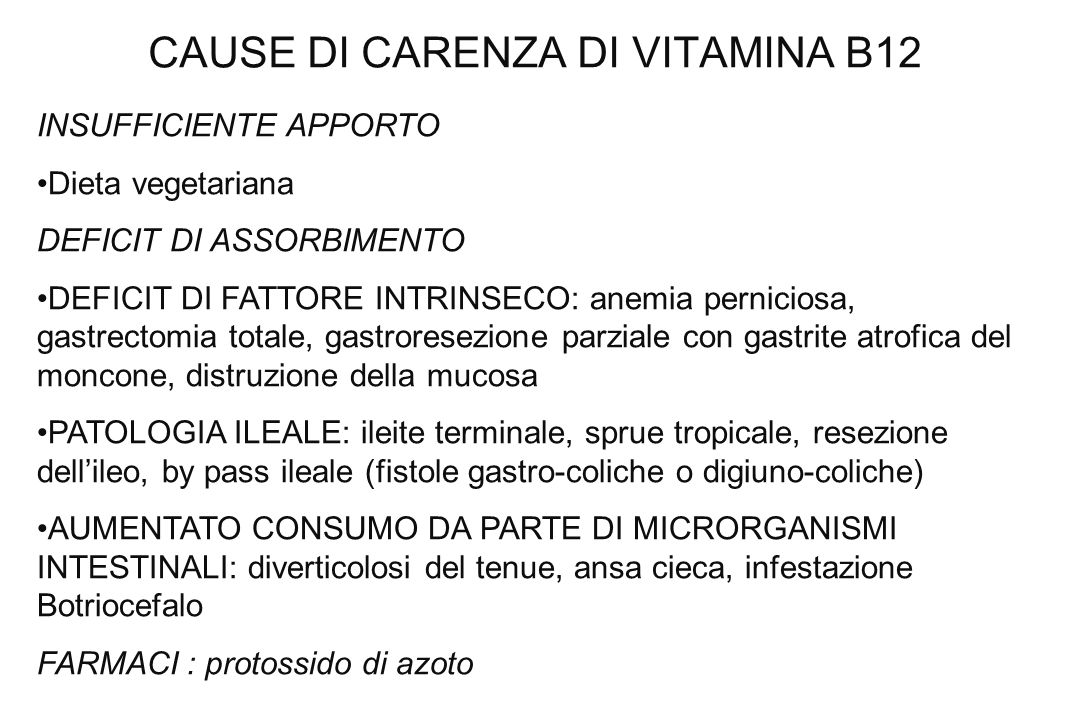 CAUSE DI CARENZA DI VITAMINA B12