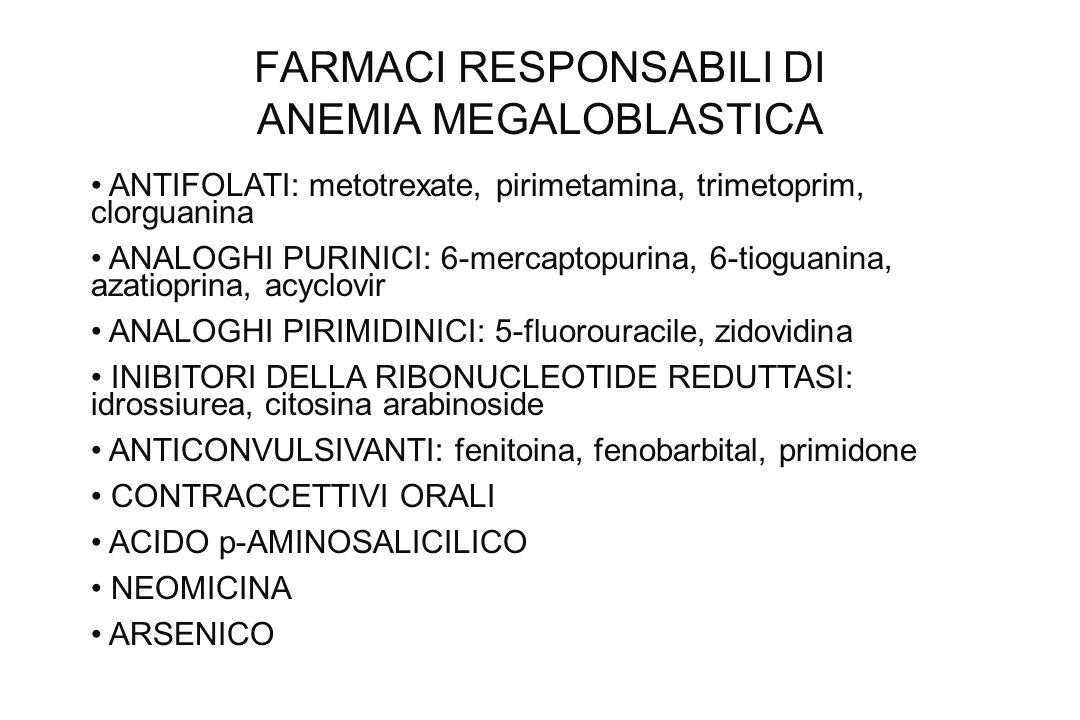 FARMACI RESPONSABILI DI ANEMIA MEGALOBLASTICA