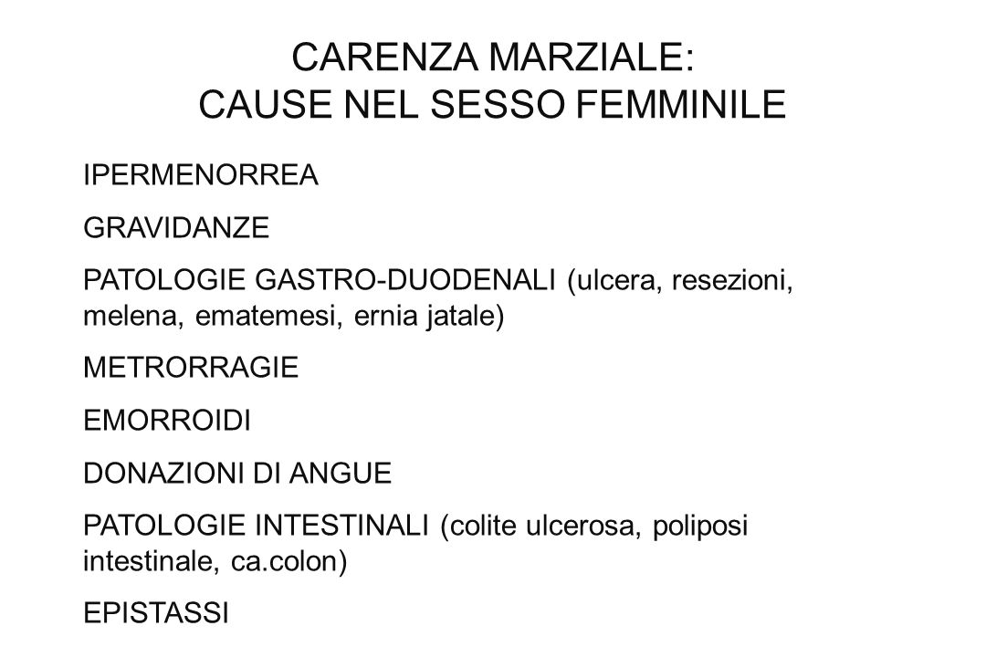 CARENZA MARZIALE: CAUSE NEL SESSO FEMMINILE
